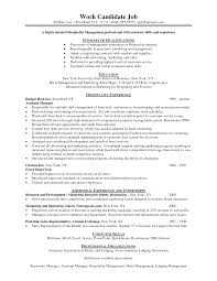 Resume Format Event Management Jobs by Resume Example For Hospitality Templates