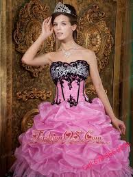 elegant rose pink quinceanera dress strapless picks up organza and