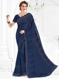 navy blouse navy blue indian festival wear chiffon sari with matching blouse