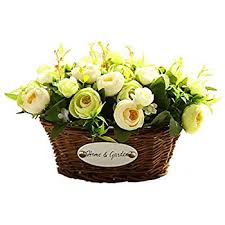 mygift artificial ivory roses in square glass vase