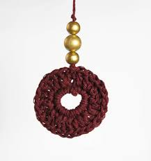boho christmas tree decoration dark plum colour handmade in surrey