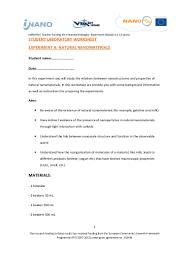 Properties Of Light Worksheet Experiment With Natural Nanomaterials Student Laboratory Worksheet U2026