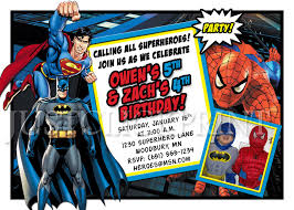 superheroes batman superman spiderman birthday invitation