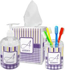 Purple Gingham U0026 Stripe Bathroom Accessories Set Personalized