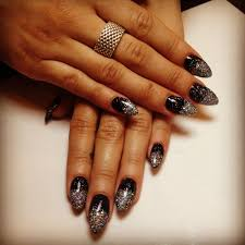 new years themed nails black stilettos with glitter ombré yelp