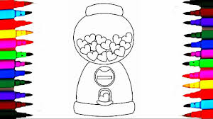 heart shaped gumball machine coloring pages l how to draw gum