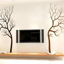 living room wall vision black brown tree wall decal