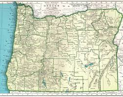 map of oregon state vintage oregon map etsy
