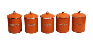 metal canisters kitchen orange kitchen metal canisters set of five olde things