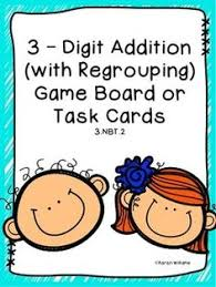 3 digit by 3 digit addition scoot task cards freebie station