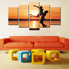 art painting for home decoration 5 piece canvas art sunset sea seascape oil canvas painting home