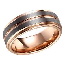 brushed gold wedding band brushed mens wedding band tungsten ring gold wedding