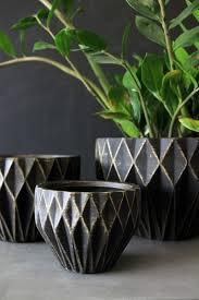 Indoor Planter Pots by Set Of 3 Geometric Plant Pots Black Gold