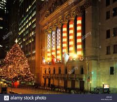 christmas tree lights stock exchange building financial district