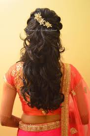 indian bride s reception hairstyle by swank studio curls bridal