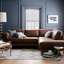 West Elm Henry Leather Sofa Dekalb 3 Premium Leather Terminal Chaise Sectional Westelm