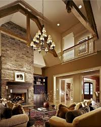Chandelier For Cathedral Ceiling Faux Wood Beams Living Room Rustic With Barn Bookshelves Cathedral