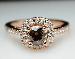 brown diamond engagement ring oval light brown diamond engagement ring halo 14k gold