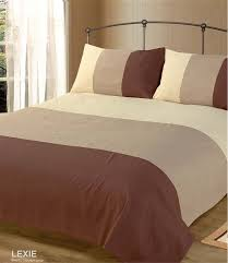 double bed duvet quilt cover bedding set lexie chocolate brown