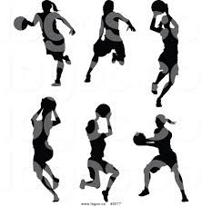 royalty free vector of logos of black and white female basketball