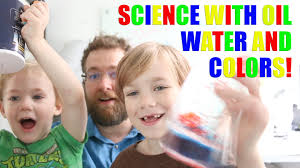 density experiment with oil water and food coloring