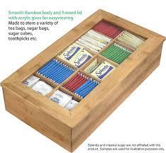 amazon com estilo bamboo tea storage box 10 equally divided