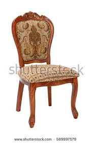 Antique Wood Chair Vintage Wooden Chair On White Background Stock Photo 589997816