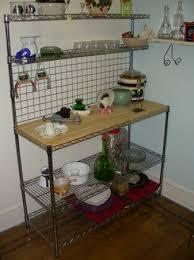 Pinterest Bakers Rack Chrome Bakers Rack With Wood Butcher Block Shelf Adjustible
