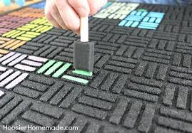 Rv Patio Rug How To Paint A Recycled Rubber Outdoor Mat Hoosier Homemade