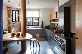 delightful kitchen design studio with pillar the middle triangle