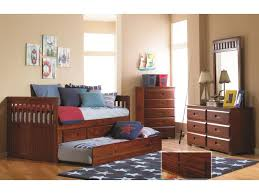 Captain Bed With Trundle Discovery Furniture Youth Bedroom Chesapeake Merlot Twin Trundle