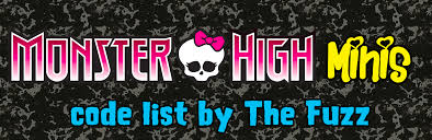 monster high minis code guide unofficial monster high checklist