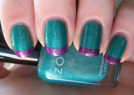 polished and powerful teal and purple color block french manicure