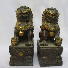 gold foo dogs big sculpture collectible 1 pair of copper carved