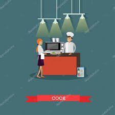 kitchen interior in restaurant vector poster chefs cooking food