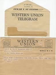 a letter via western union from my grandmother to my