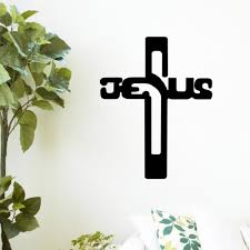 Crosses Home Decor Black Christian Jesus Cross Vinyl Wall Sticker Decals Living Room