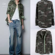 camo blouse 2018 camouflage style rivet pocket sleeve top blouse