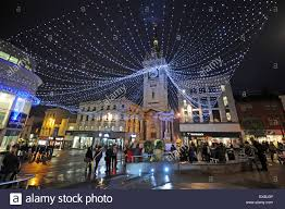 the christmas lights at the clock tower in brighton city centre uk