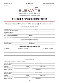 generic credit application template vendor application form