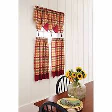 Kitchen Curtains Valance by Red Green Yellow Tan Country Plaid Kitchen Curtains Valance Or