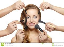 Doing Hair And Makeup Makeup Brushes Near Attractive Face Many Hands Stock Photo Image