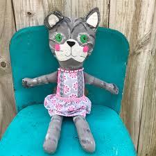 cute handmade tabby cat doll painted cloth cat shabby chic