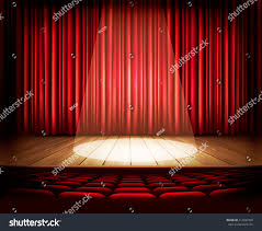 Theater Drape Theater Stage Red Curtain Seats Spotlight Stock Vector 212047459