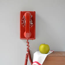 Old Fashioned Wall Mounted Phones Rotary Wall Phone Red Rotary Wall Telephone Working Rotary Phone