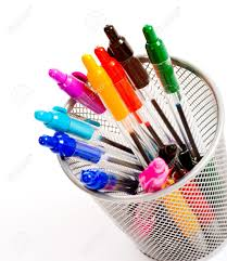 Pencil Holder For Desk A Background Of Desk Top Pen Holder Full Of Brightly Colored