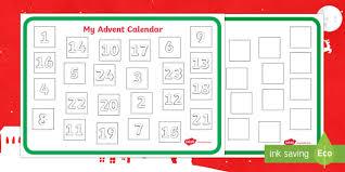 blank calendar template ks1 design an advent calendar activity christmas xmas advent