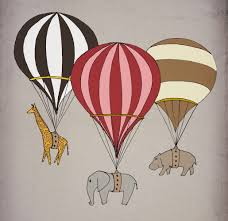 Giraffe Baby Decorations Nursery by Elephant Giraffe Hippo Hot Air Balloon Archival Art Print 12x16