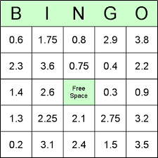 decimal bingo cards for teaching math and decimal numbers