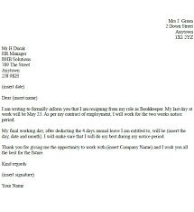 bookkeeper resignation letter example toresign com